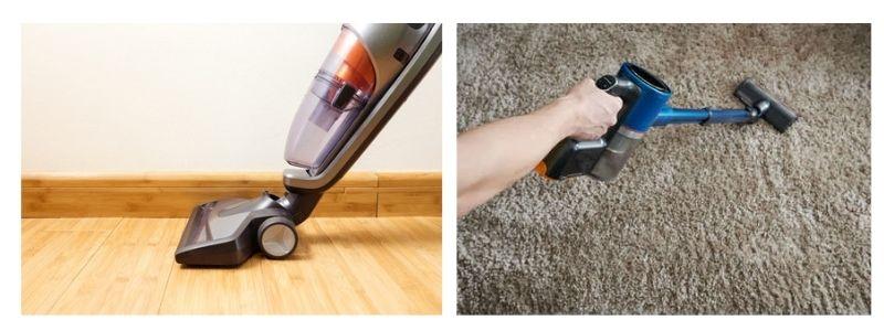 aspirateur entrain aspirer sur tapis et parquet